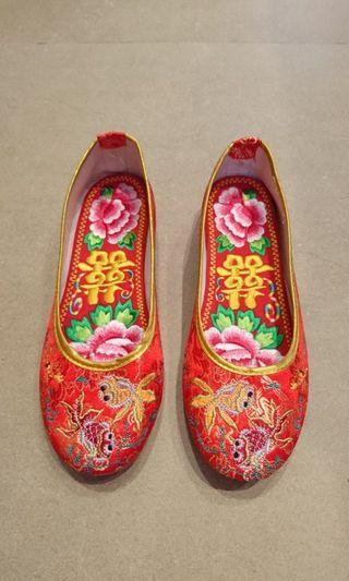 高質 金魚 褂鞋 平底 囍鞋墊 裙褂鞋 結婚鞋 結婚用品 幸福承傳