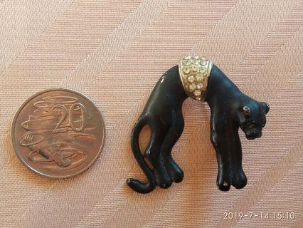 Vintage black panther brooch
