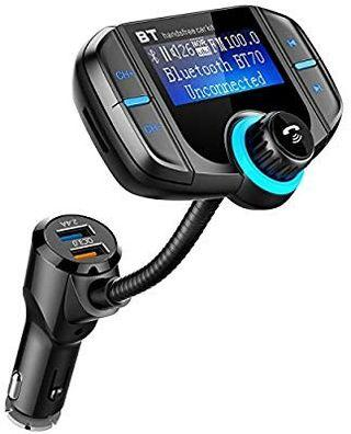 Comsoon FM-BT70 Bluetooth FM Transmitter, Wireless Radio Adapter with Quick Charge 3.0 + 5V/2.4A Dual USB Charger, 1.8 Inch LCD Display, AUX Input/Output (Black)