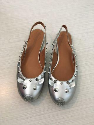 Marc by Marc Jacobs stuffed mouse silver sling back flats