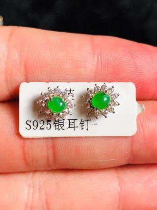 天然緬甸翡翠耳針耳環