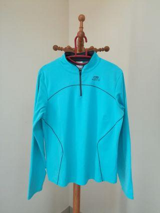 Decathlon Kalenji Ekiden Women's Warm Long Sleeved Running Jersey - Turquoise/Navy