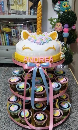 Unicorn Cake & Cupcake Tower