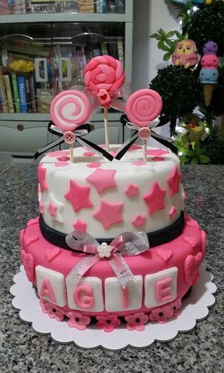 Black & Pink Lollipop Theme Fondant Cake