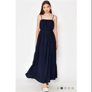 Kassi Ruched Maxi Dress w Sash Navy