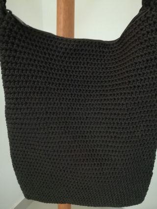 Rayon Crocheted Sling Bag (Dark Brown)