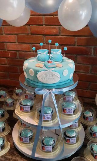 Baptismal Cake & Giveaway Cupcake Tower with Balloon Arch