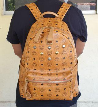 Authentic MCM Cognac Visetos Stud Large Bagpack