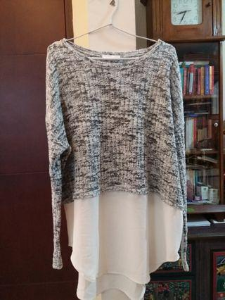 Zara grey knit white flare sweater