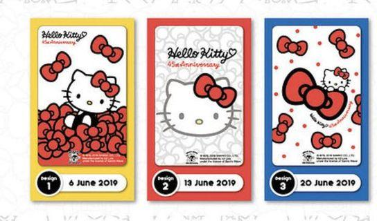 Hello Kitty 45th anniversary ezlink cards (full set)