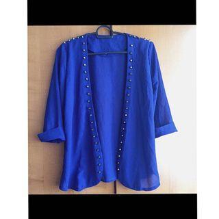 Blue studded blazer jacket cardigan