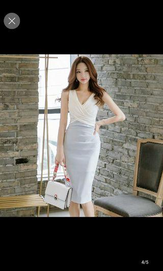 White Dress baby blue office elegant