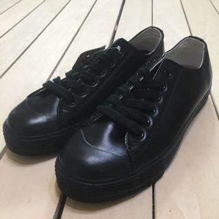 無印良品 MUJI 休閒鞋 帆布鞋 皮革 牛皮 黑色