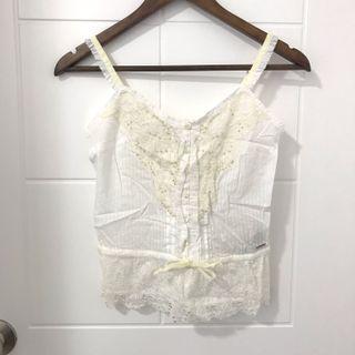 全新 abercrombie kids 白色lace吊帶衫 tank