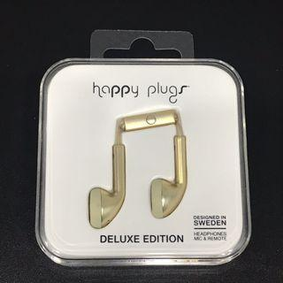Happy Plugs Deluxe Edition Champagne Gold Earphones with Mic