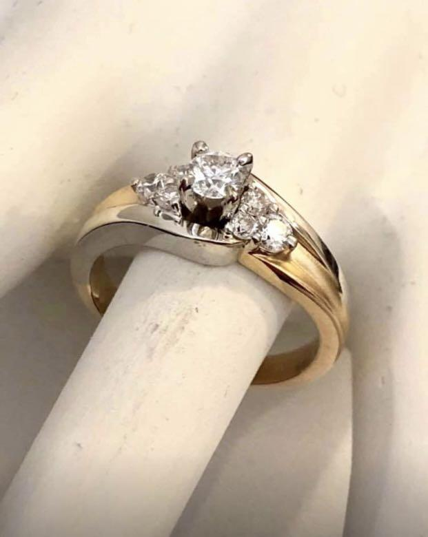 14k 2 tone gold diamond engagement ring *Compare at $2,300+