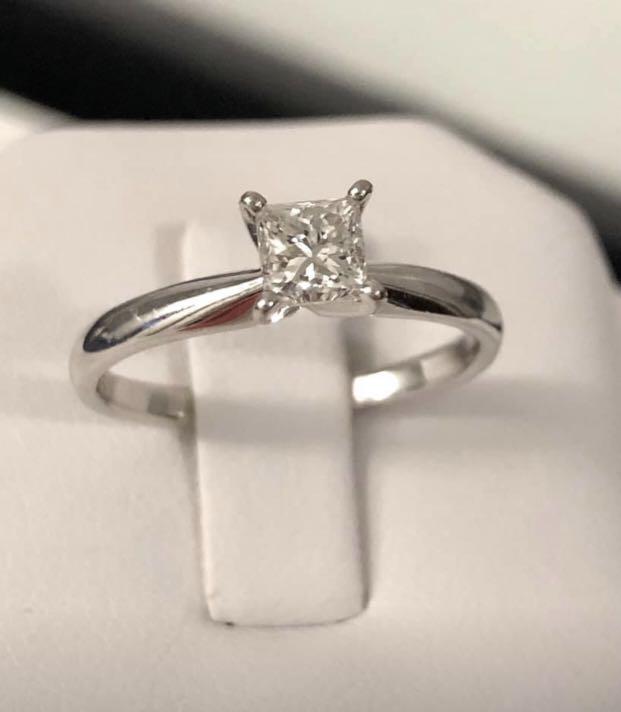 14k White Gold Princess Cut Diamond Engagement Ring **Gem scan certified — $3,200