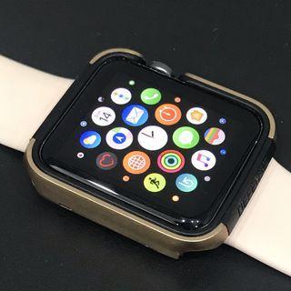 X-Doria 42mm Apple Watch Case (Defense Edge) Premium Aluminium Metallic Gold TPU Frame Bumper [Silver]