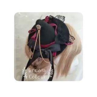萬聖節 女巫 Lolita 黑色 齒輪 禮帽 # 轉轉臉紅紅