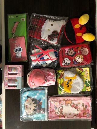 小丸子 Mickey Mouse line friend hello kitty twin star 零用錢包 八達通卡套 膠紙 筆袋