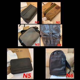(15/07/19)Ready Stock Authentic coach men wallet purse sling bag leather traveller bag backpack laptop bag