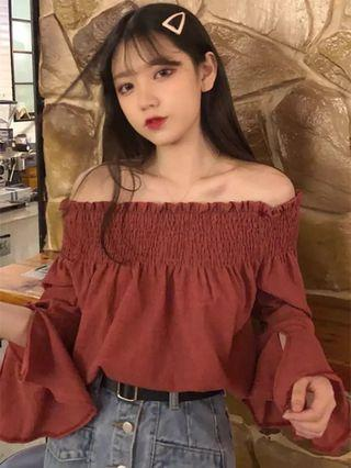 [PO] 2019 summer style off shoulder with ruffle sleeve