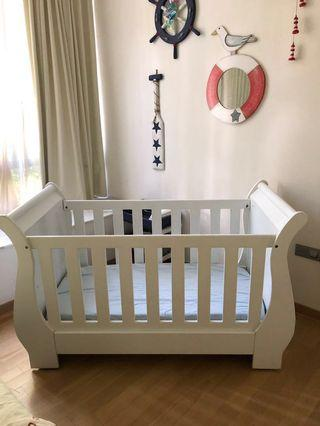 White Solid Wood Sleigh Cot