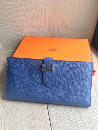 Hermes Bearn Long Wallet Classic 7E Bleu Brighton New with Reciept