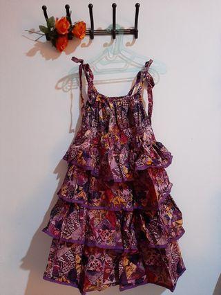[Beach Wear] Purple Batik Mididress