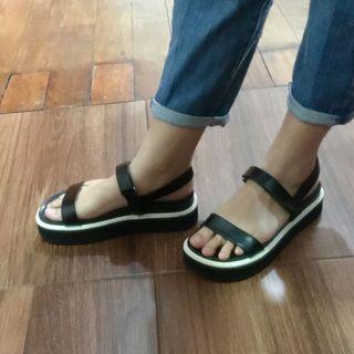 C&K Black Platform Sandals
