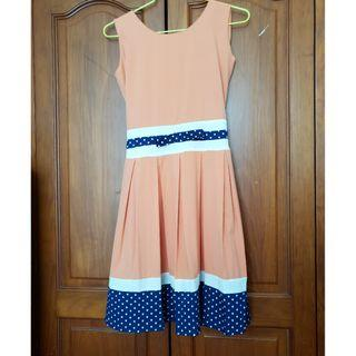 Peach and Blue dress (Size S)