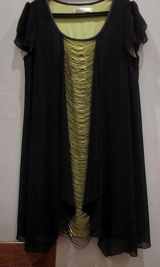EACORL Women's Round Neck Two-Colour Tunic Dress (Yellow & Black)