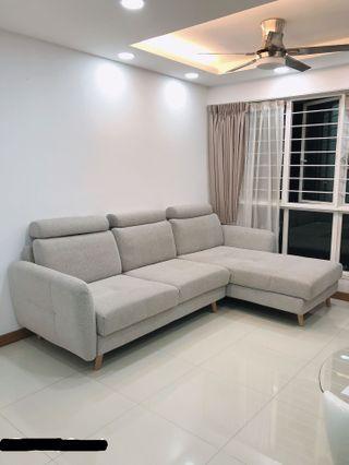L Shaped Fabric Sofa Light Grey