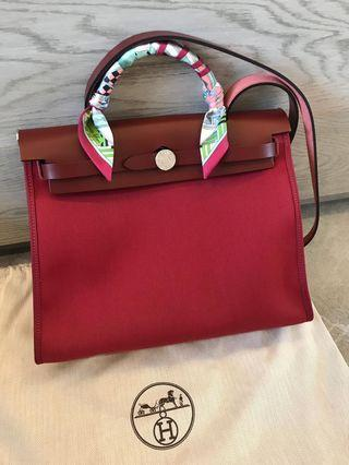 Hermes Herbag 31 New with receipt Rouge Grenat 2019