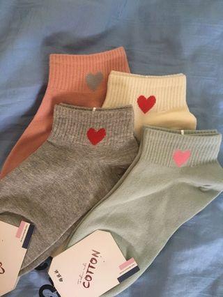 cute ulzzang korean heart socks