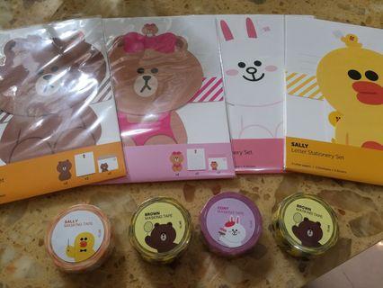 韓國 Line 文具 信紙套裝 膠紙 Brown Cony Choco Sally 多款可選