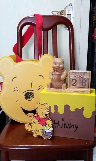 bossini x限量小熊維尼winnie the pooh 袋&木製座枱月曆set