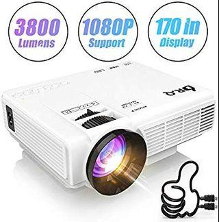 DR.Q HI-04 Projector 1080P Full HD and 170'' Display Supported, 3800 Lumen Video Projector Compatible with TV Stick PS4 XBOX HDMI VGA TF AV USB, Home Theater Projector, White.