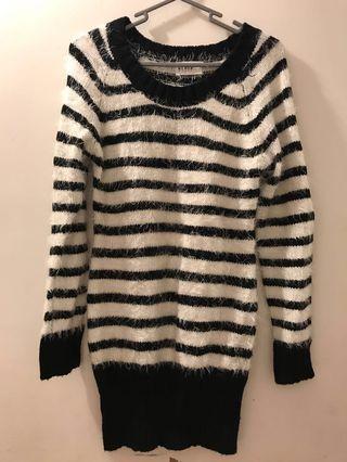 White black striped 間條 長裙 dress 冷衫