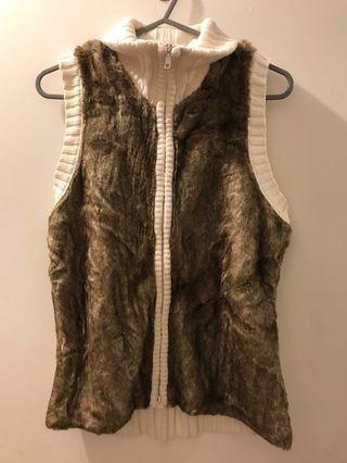 毛毛背心 白色 冷背心 fur vest women top warm