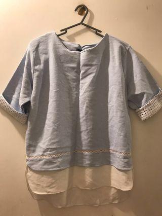 Korean Top 韓國淺藍色 天藍色 女裝上衣 baby blue top