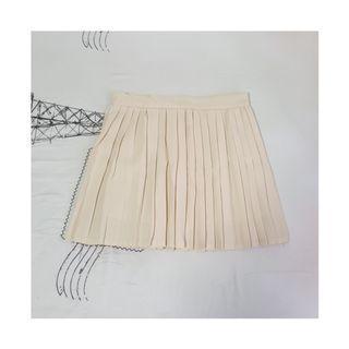 Cream Pleated Skirt
