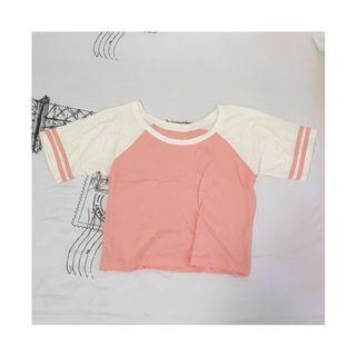 Pink and Cream / White Crop Top