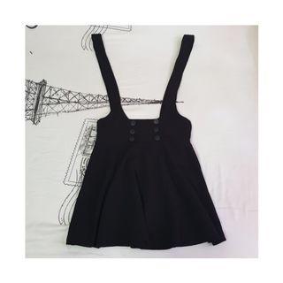 Black Suspender Skirt / Pinafore / Overall Dress