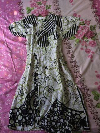 Dress Batik hijau motif
