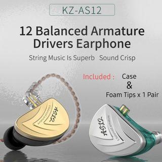 🚚 KZ AS12 (6BA+6BA) HiFi IEM with/without Mic + Foam Tips + Casing + 1 Month Warranty 1-1 Exchange 《INSTOCK》