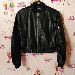 Zara Black Leather Bomber Jacket Original