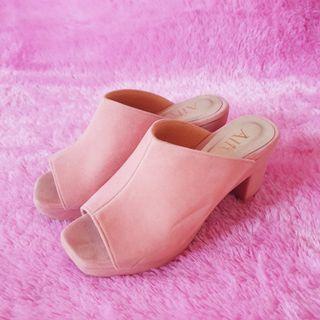 Alive Pink Velvet Sandal Heels