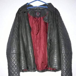 Plus Size Navy Green Leather Jacket
