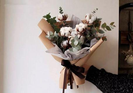 Cotton flower bouquet | everlasting purity